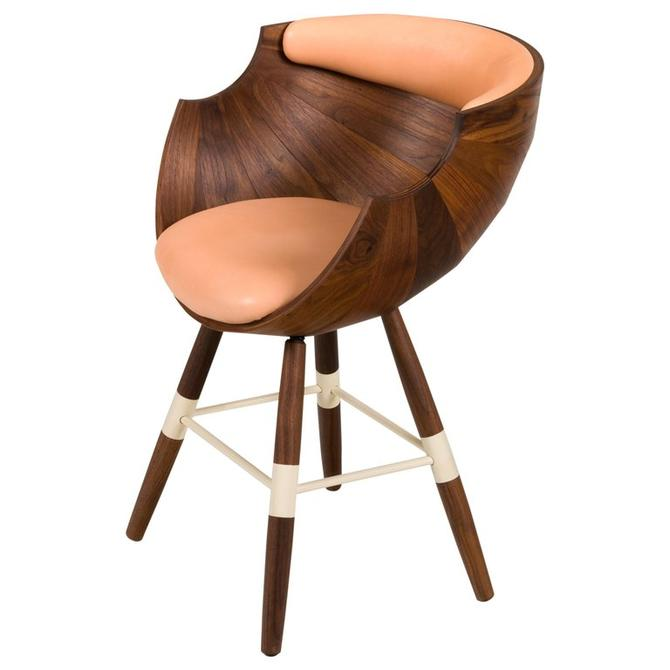 """Walnut and Leather """"Zun"""" Dining or Conference Chair by Lop Furniture, Denmark"""