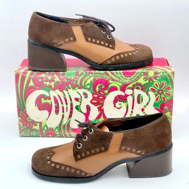 Vintage 1970s Funky Vegan Oxfords, Brown Two-Tone Faux Leather Lace-Up Wingtip Shoes, Cover Girl Shoes Deadstock w/Original Box, 7 1/2 US by RanchQueenVintage