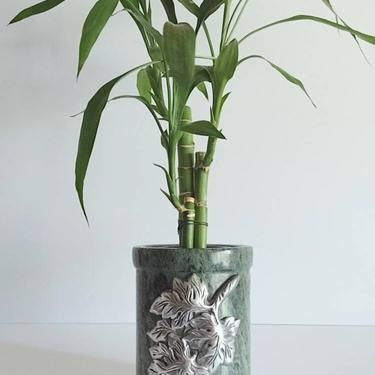 """Vintage Hand Carved Serpentine Jasper Gemstone & Metal Leaf Relief Vase Planter Candle Holder 6"""" by TalonVintage"""