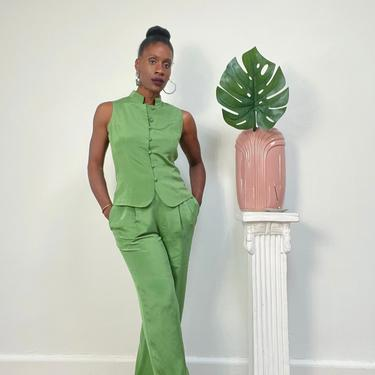 Vintage 1980s 1990s 90s Green Silk Pants Suit Set Vest High Waist Pleat Front Mock Neck Sleeveless Bright Two Piece Small  Petite by KeepersVintage