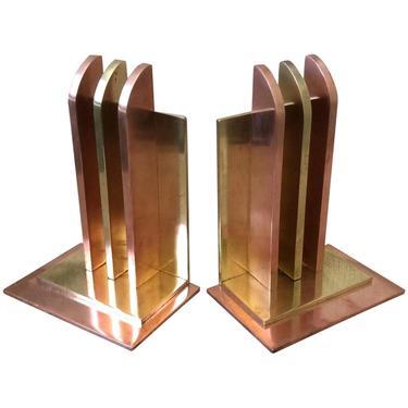 Art Deco Bookends by Walter Von Nessen for Chase Brass, Pair by HarveysonBeverly