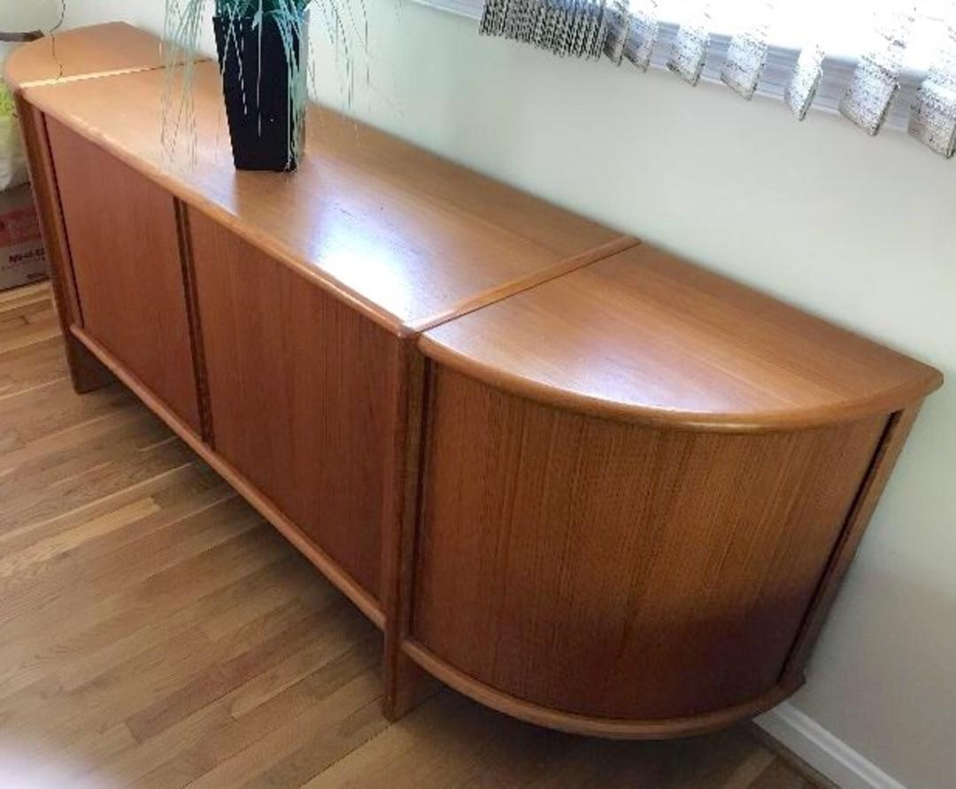 Danish Teak Credenza With Tambour Doors And Curved Ends