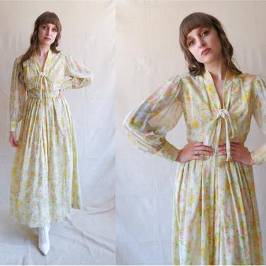Vintage 60s 70s Floral Dressing Gown/ 1960s Balloon Sleeve Cotton Voile Maxi Dress/ Size Small by bottleofbread