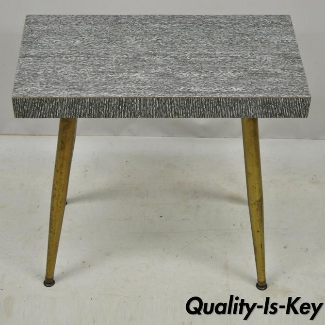 "Vintage Atomic Era Mid Century Modern Metal Brass Leg 22"" Side Table Stand"