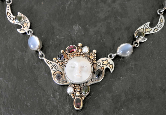 Vintage Moonstone, Garnet, Sterling, Goddess Necklace with Multi Stones by LegendaryBeast