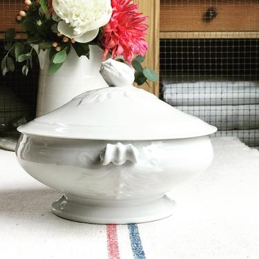 Beautiful pure white vintage French ironstone vegetable tureen with artichoke handle- TAH by Grainsacfrenchvintag