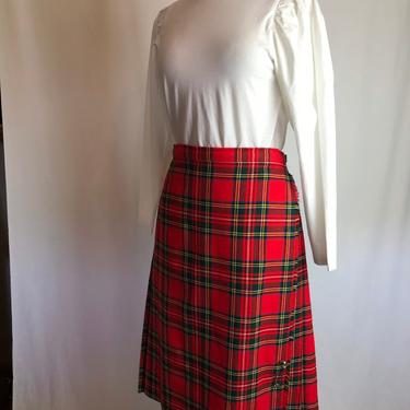 60's 70's wool plaid skirt~ wrap skirt~ pleated  fringed bright red woolen~ kilt style skirt~ size M/L by HattiesVintagePDX