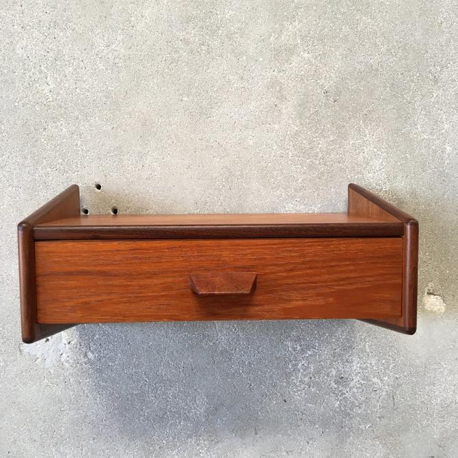 Small Danish Teak Floating Shelf with Drawer