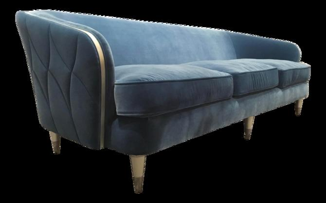 Caracole Modern Turquoise Velvet Hour Time Sofa
