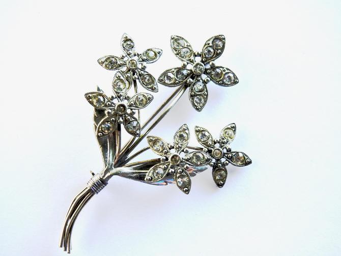 Mid Century Clear Rhinestone Silver tone Flower Brooch by LegendaryBeast