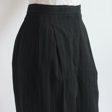 Charcoal Gray Pinstripe High Waist Trousers XL 1980's by BeggarsBanquet