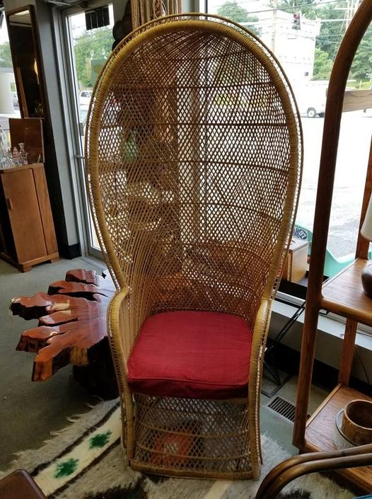 Mid-Century rattan balloon chair