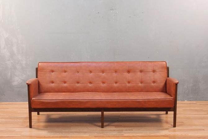 Paoli Mid Century Cayenne Vinyl & Walnut Sofa