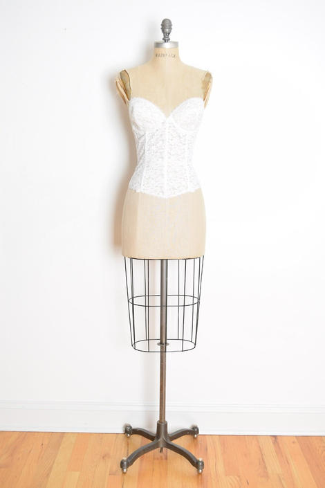 6b65a33fbaf vintage 80s bustier top white lace corset bra shirt lingerie  Frederick amp  39 s