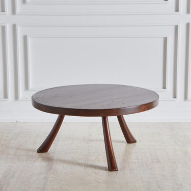 Circular Pine Coffee Table with Curved Legs