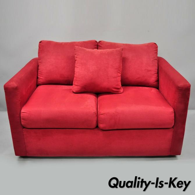 Fantastic Red Microfiber Single Twin Pullout Leggett Platt Sofa Bed Loveseat Creativecarmelina Interior Chair Design Creativecarmelinacom