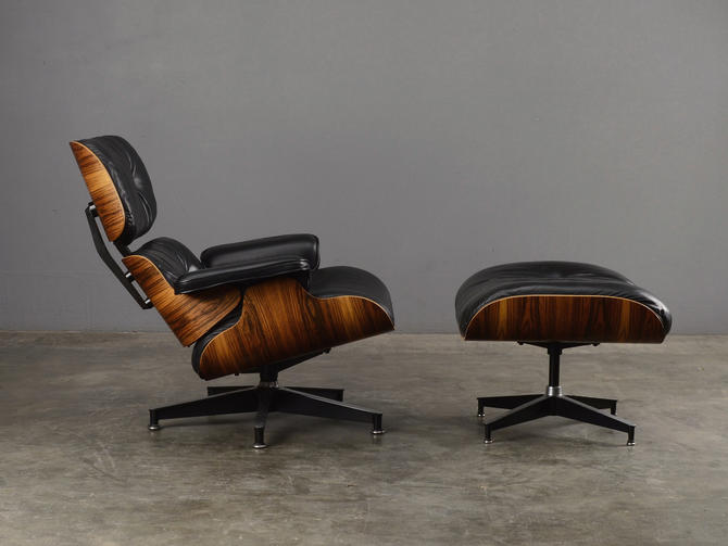 Vintage Eames Lounge Chair 670/671 Rosewood and Black Leather by MadsenModern