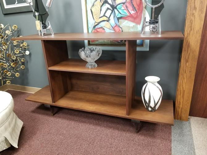Mid-Century Modern walnut low bookcase /  room divider