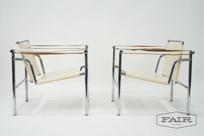 Pair of Le Corbusier LC1 Chrome and Leather Chairs