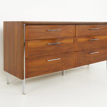 Paul McCobb Style Lane Mid Century 6 Drawer Walnut and Chrome Lowboy Dresser - mcm by ModernHill