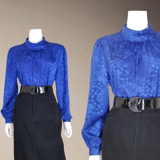 Vintage Jacquard Cocktail Blouse, Medium Large / Royal Blue Button Blouse / Silky Satin Cocktail Blouse / Elegant Long Sleeve Dressy Top by SoughtClothier