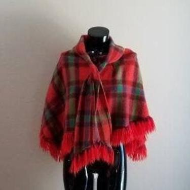 Vintage 60s Pioneer Wear Albuquerque New Mexico Tie Front Fringed Tartan Red Plaid Wool Poncho 60's Mod Fashion by FlashbackATX