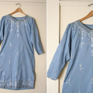 Vintage blue Indian Tunic Dress size M by honeycombvintage