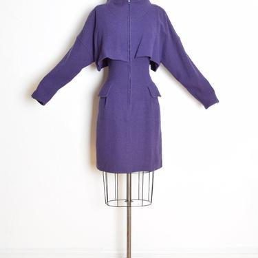 vintage 80s dress COURREGES purple wool caplet zip up space age futuristic M clothing by huncamuncavintage