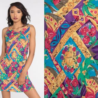 Floral Summer Dress 90s Sundress Mini Floral Sun Dress Flared 1990s Bohemian Vintage Shift Boho Sleeveless Medium by ShopExile