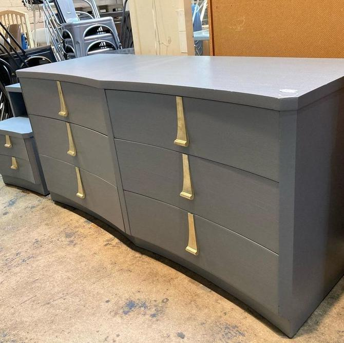 """Scallop front dresser with gold drop pulls. 6 drawers. 64.5"""" x 22.5"""" x 31.5"""""""