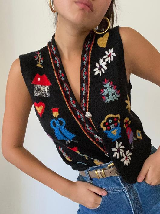 80s hand embroidered folk sweater vest gilet / vintage black wool blend hand embroidered folklore sleeveless button up sweater vest | M by RecapVintageStudio