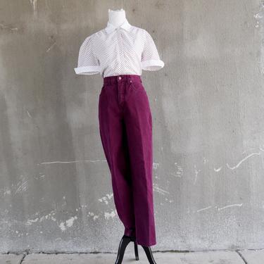 90s Vintage Jeans | Plum Purple Jeans | Bill Blass Jeans | High Waist Jeans | Straight Cut Jeans | Medium Jeans M | Size 8 Jeans | Mom Jeans by aphroditesvintage