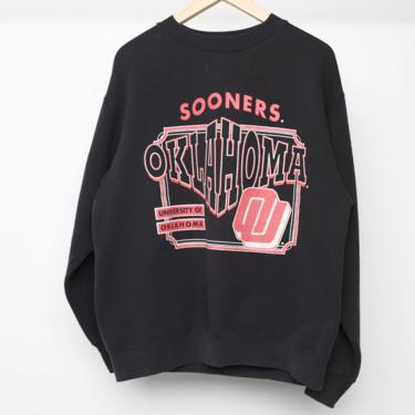 vintage OKLAHOMA SOONERS black and red COLLEGE football raglan sweatshirt -- size large by CairoVintage