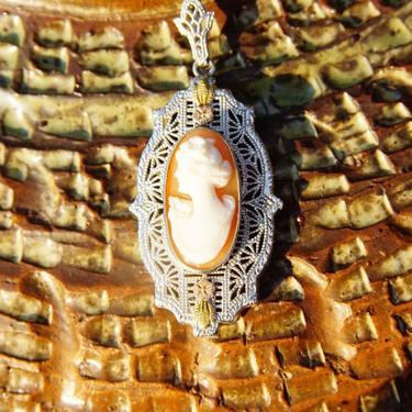 "Vintage Art Deco 10K White Gold Cameo Filigree Pendant Necklace, Ornate Filigree Pendant, 16"" Long Matching Chain, Signed Esemco 10K by shopGoodsVintage"