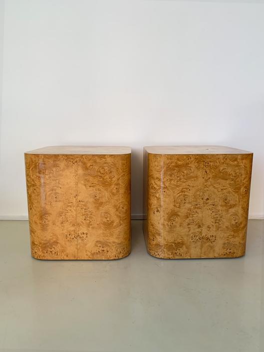 1970s Olive Burl Wood Cube Side Tables By Paul Mayen -Each