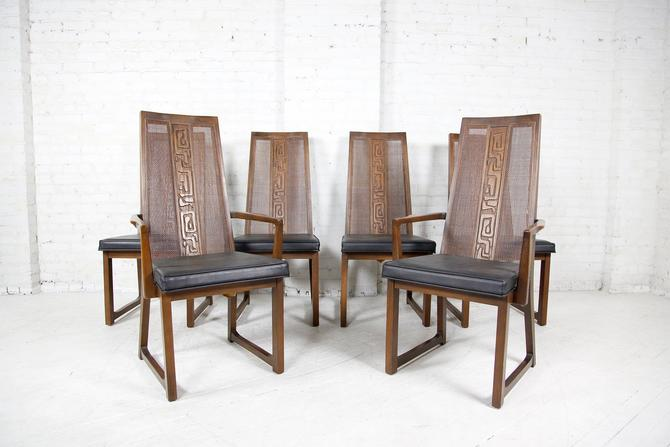 Vintage set of 6 brutalist style tall back chairs with carving and caning by United Furniture | Free delivery ONLY in NYC area by OmasaProjects