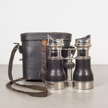 19th c. Leather and Chrome Field Binoculars & Case c.1880