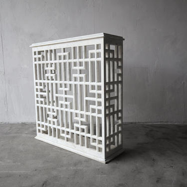 Carrara Marble Fretwork Entry Console Table by AgedModern