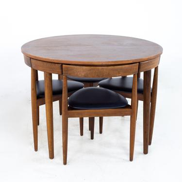 Hans Olsen for Frem Røjle Mid Century Round Danish Teak Dining Table with Set of 4 Nesting Chairs - mcm by ModernHill