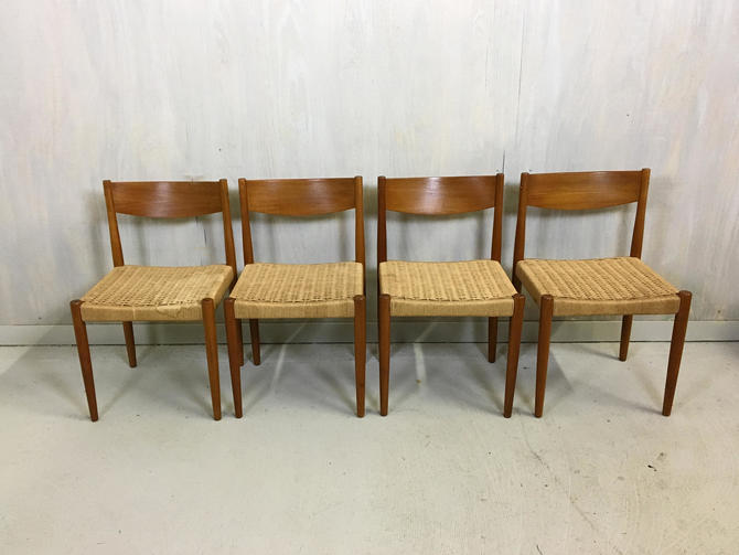 Danish Modern Poul Volther Cord And Teak Dining Chairs By Retrocraftdesign