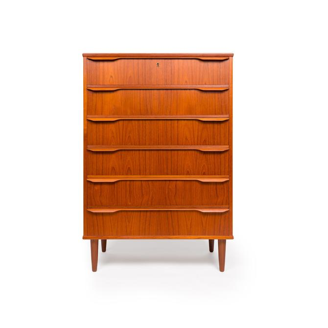 Vintage Danish Mid-Century Teak 6-Drawer Tallboy with Top Locking Drawer by MCMSanFrancisco