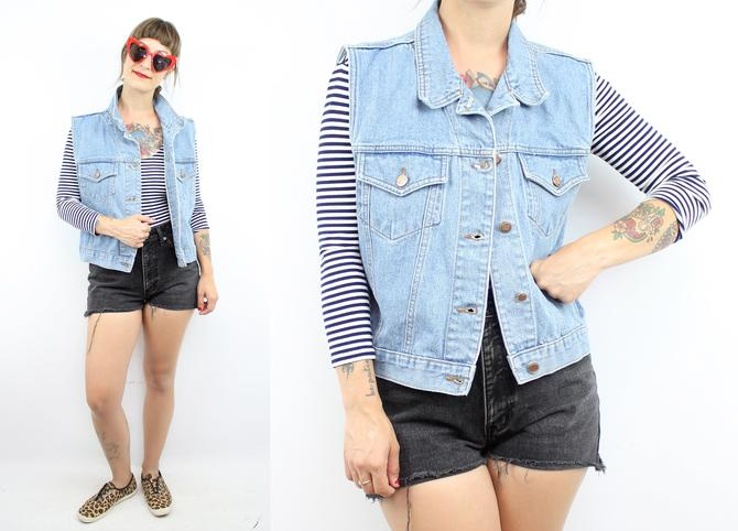 57f5bbe5a61a Vintage 90's Light Denim Jean Cut Off Jacket / 1990's ...