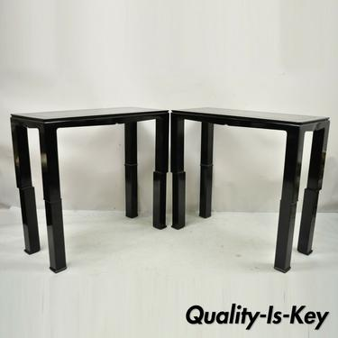 Black Lacquer James Mont Style Oriental Modern Sofa Hall Console Tables - Pair