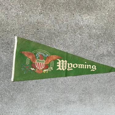 Vintage 1920s Wyoming Souvenir Felt Pennant Home Decor by NorthGroveAntiques