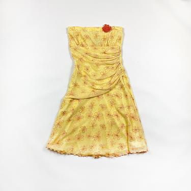 90s y2k Yellow and Orange Daisy Tube Dress / Wavy Hem / Drop Waist / Asymmetrical / Ruching / Gathered / Medium / Simple Life / 00s / M / by shoptrashdotnet