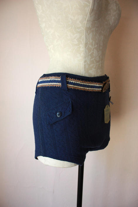DEADSTOCK 1930s 40s Cotton Wool Blend Knit Swim Shorts Men's Belted Swim Trunks by NoSurrenderVintage