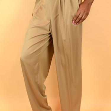Vintage Gold Tan High Rise Pleated Pants Trousers (Medium, Large) by MAWSUPPLY