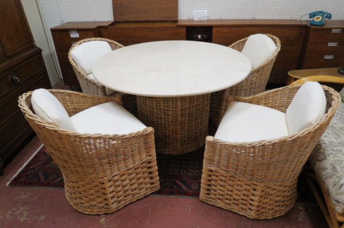 Vintage 5pc. Wicker dining set with marble top