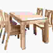 Oriental Light Wood Rectangular  Dining Table 4 Chairs Set cs1555E by GoldenLotusAntiques