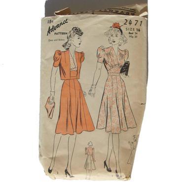 Vintage 40s Advance 2471 Dress Pattern Bust 34 Unprinted by MetroRetroVintage